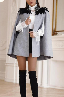 Solid color British cloak coat