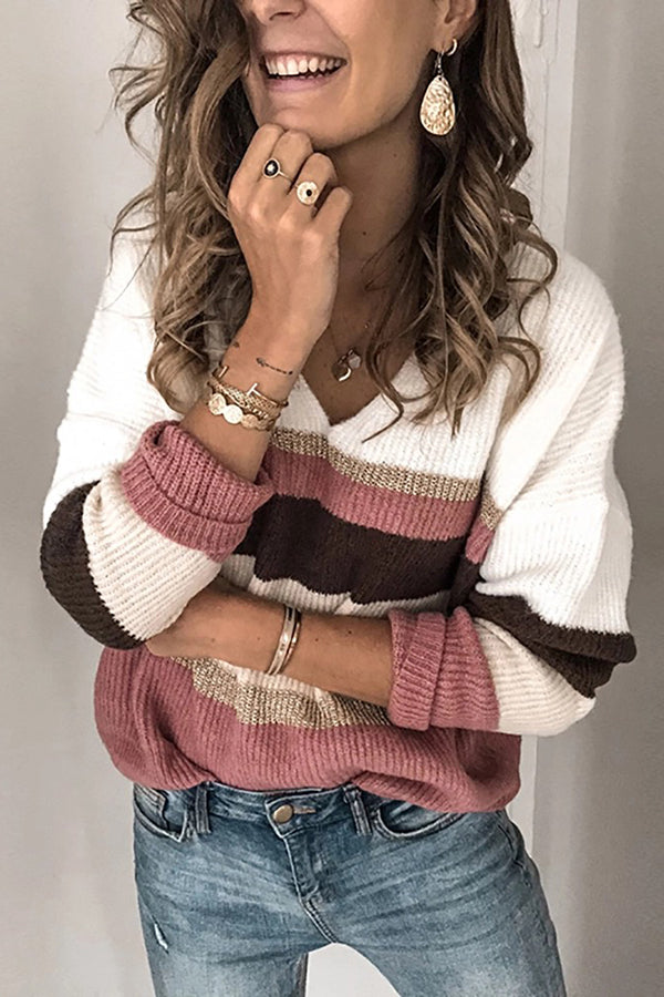 Casual Spell Color V-Neck Knit Sweater