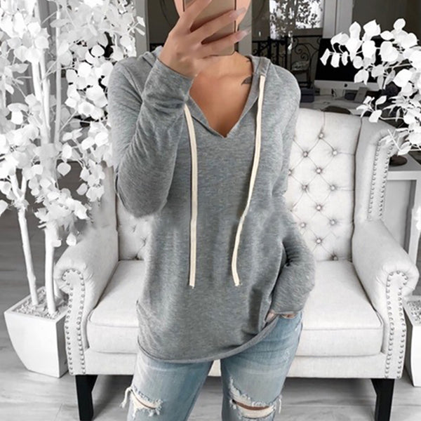 Women's Hooded V-neck Solid Color T-shirt