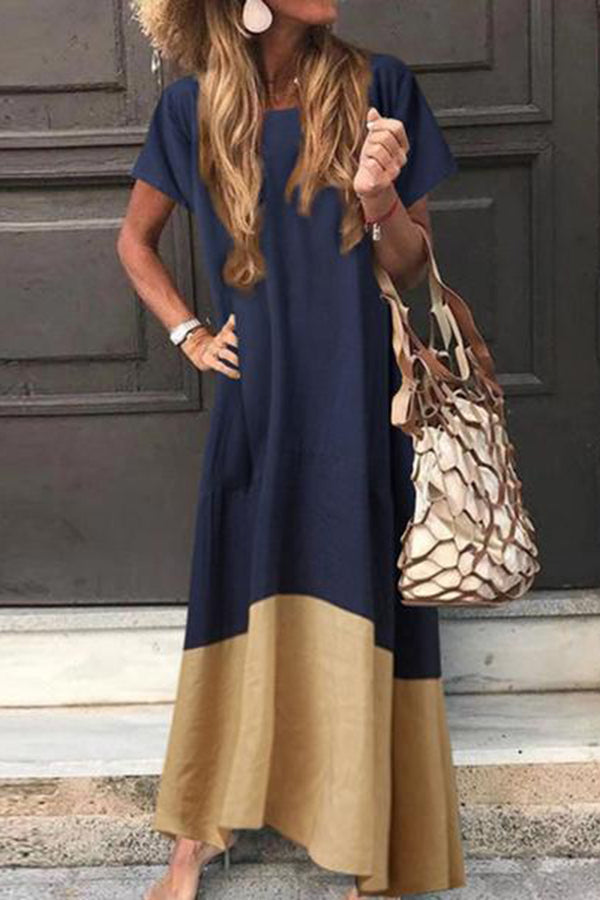 Casual Loose Color Block Short Sleeve Maxi Dress