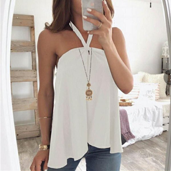 Plain Sexy Halter Backless T-Shirts
