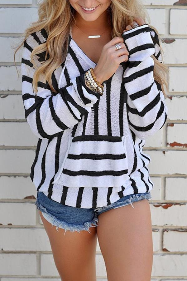 New Casual Striped Hooded Sweatshirt Top