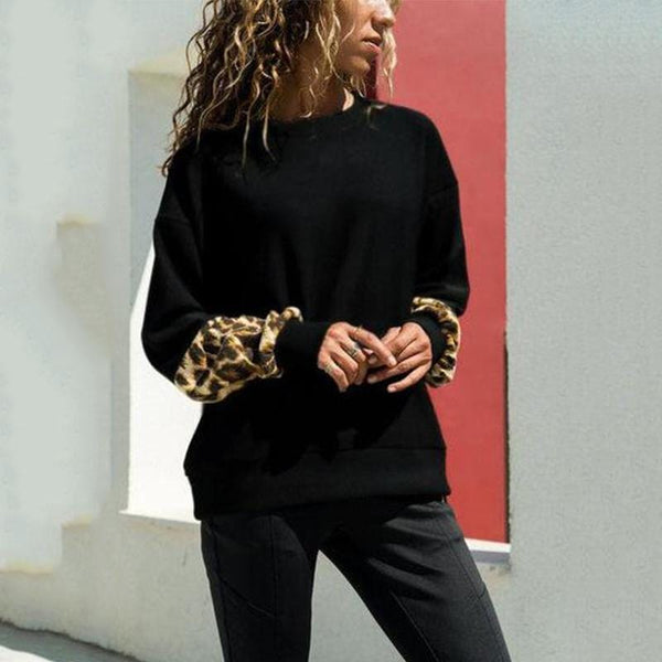 Chic Casual Round Collar Puff Sleeves Leopard Printed T-Shirt