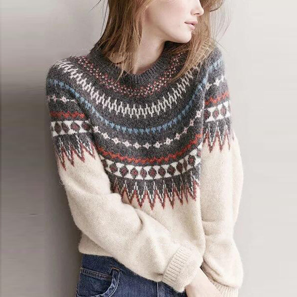 Casual Color Matching Round Neck Sweater