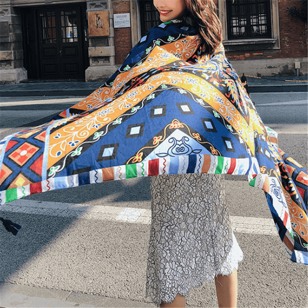 Vintage   printed ethnic style sunscreen shawl