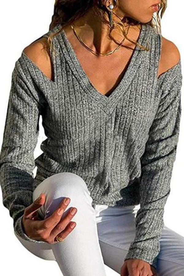 Sexy Dew V-Neck Slip Shoulder Sweater
