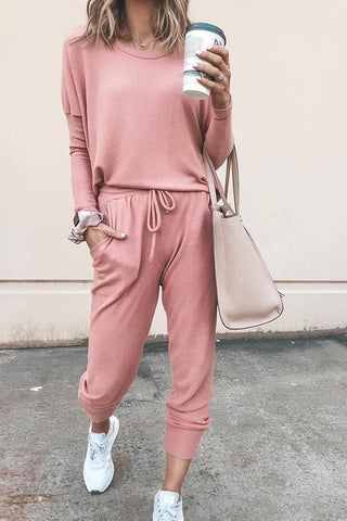 Fashion Line Long Sleeve Pink Jumpsuit For Women