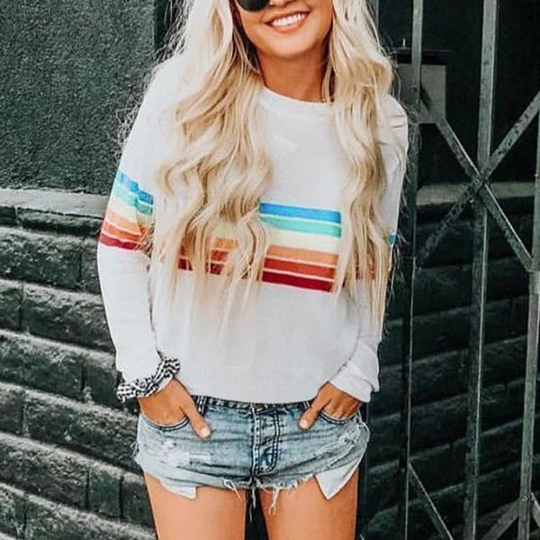 Rainbow Long Sleeve Knit T-Shirt