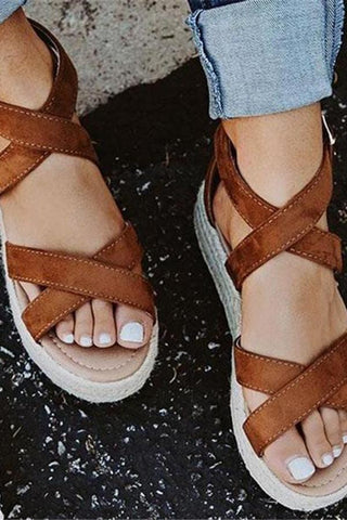 Fashion Straw Wedge Sandals