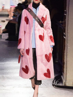 Love Heart Pattern Printed Long Outerwear