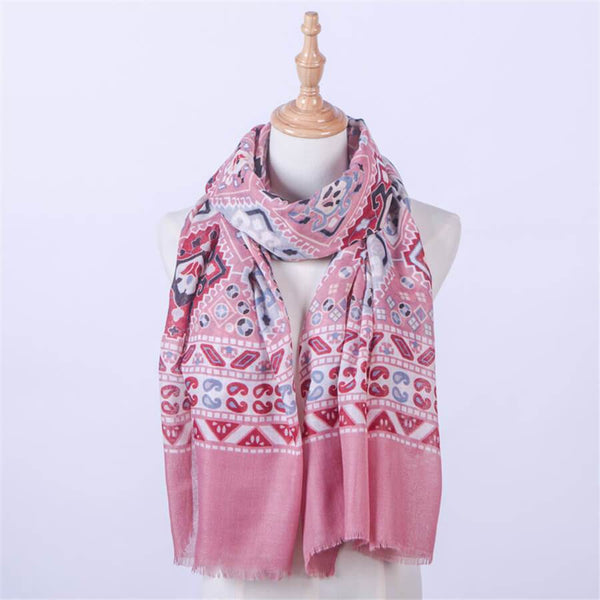 Vintage   printed cotton and linen national wind   scarf