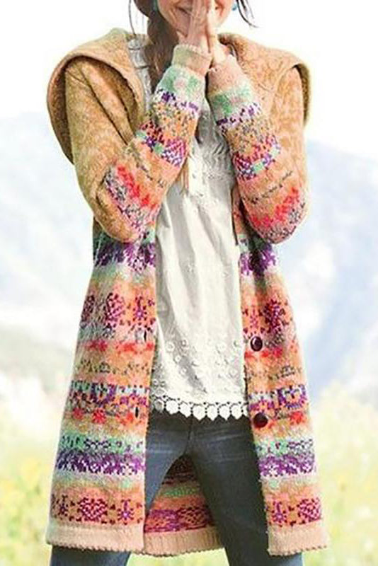Casual Women Hooded Printed Cardigan
