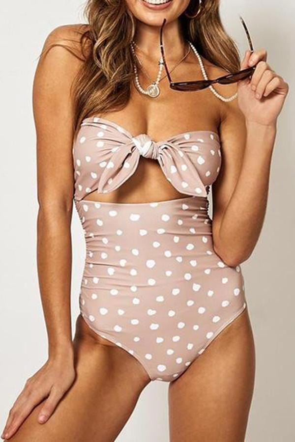 Multicolor Strap Bowknot One Piece