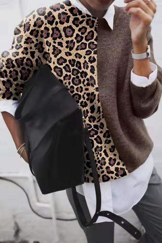 Fashion Leopard Grain Patchwork Knit Top