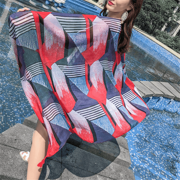 Ethnic   style cotton retro print shawl