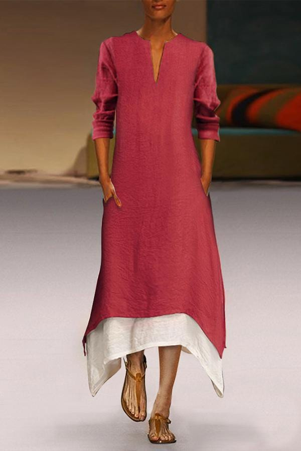 Arealook Cotton/Linen Contrast Color Casual  Maxi Dress With Pocket