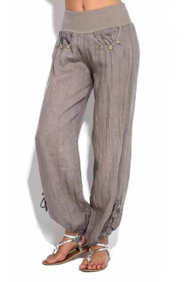 Solid Color Cotton And Linen Pocket Casual Trousers