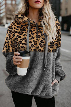 Sexy Leopard Zip Pocket Plush Sweater