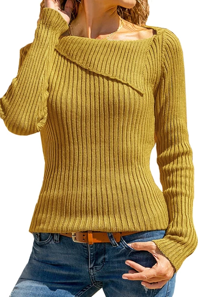 Lapel Patchwork Casual Plain Long Sleeve Knit Pullover