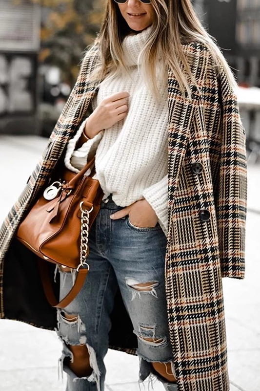 Fashion Fold Over Collar Double-Breasted Plaid Coat