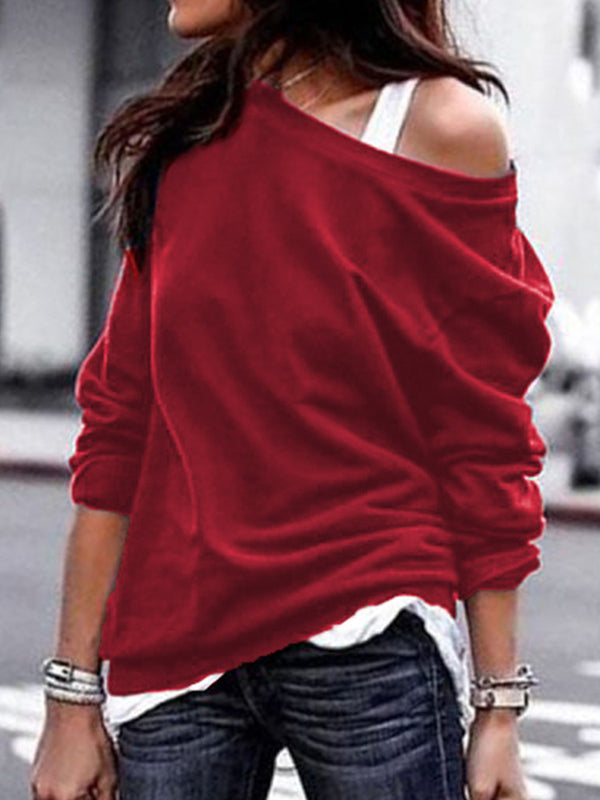 Autumn Spring Winter Polyester Women Open Shoulder Plain Long Sleeve T-Shirts