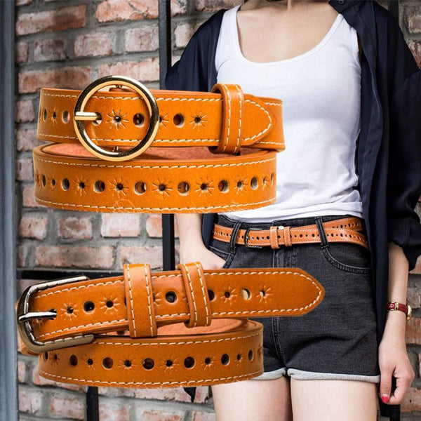 Ladies hollow belt retro denim decorative belt pin buckle casual wild belt