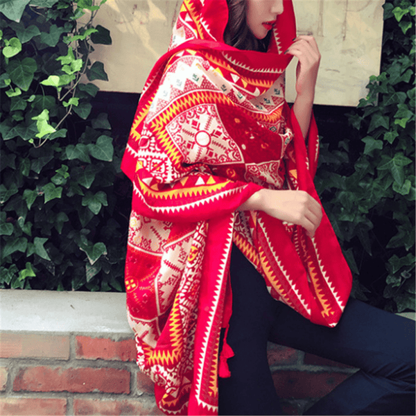 Vintage printed red ethnic style long scarf shawl