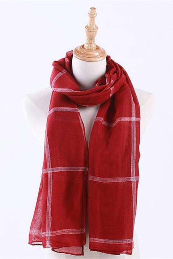 Cotton   and linen plaid thin scarf