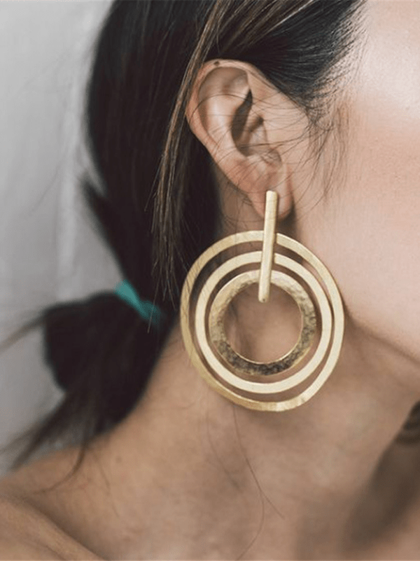 Arealook Personality Trend Women's 3 Circle Earrings