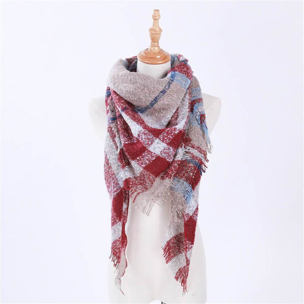 Fashion   wild big plaid triangle scarf