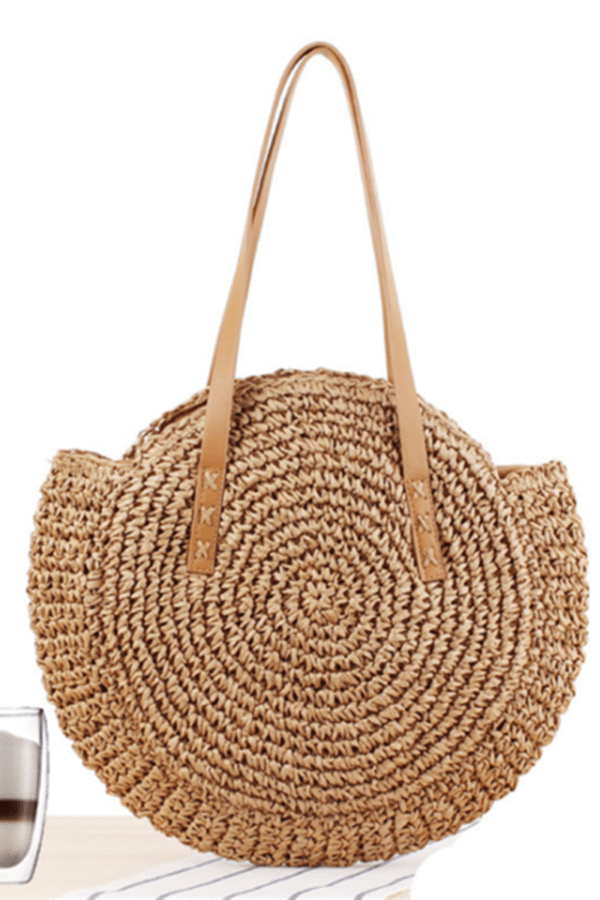 Simple round straw beach fashion handbag