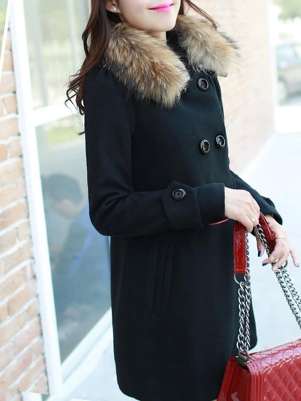Faux Fur Collar Plain Coat