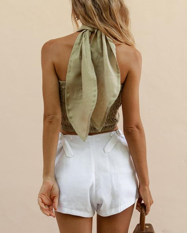 Cross Straps Wrapped Chest Shorts Suit