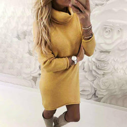 Fashion Pure Colour High Collar Velvet Casual Dresses