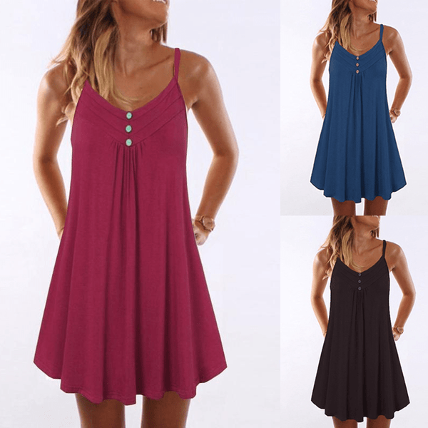 Women Plus Size Plain Shift Mini Dress