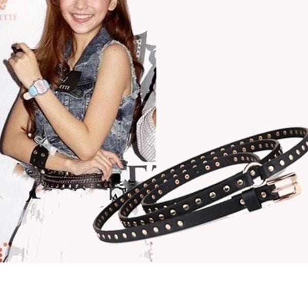 Fashion   punk black long round two-ring rivet ladies thin waist belt