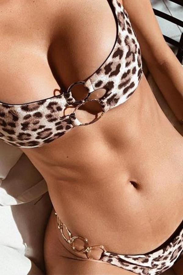 Spaghetti Strap  Backless Hollow Out Leopard Bikini