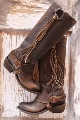 Vintage Style Women Lace-Up Tassels Mid-Calf Boots