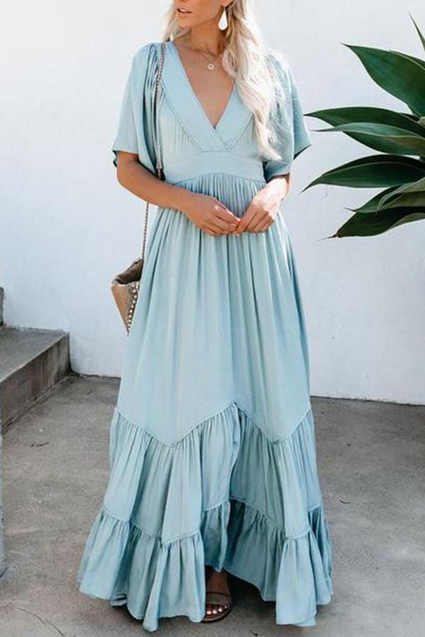 Solid Color Deep V-Neck   Stitching Ruffled Dress
