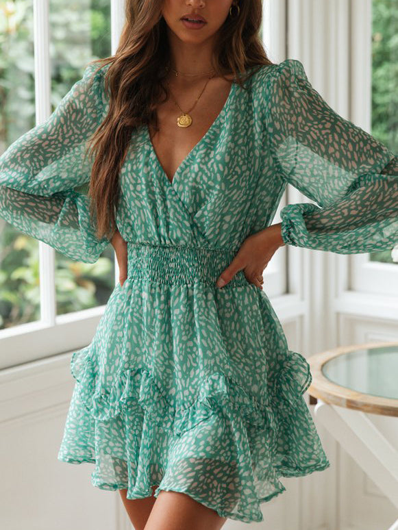 Small V-Neck Long-Sleeve Floral Mini Dress
