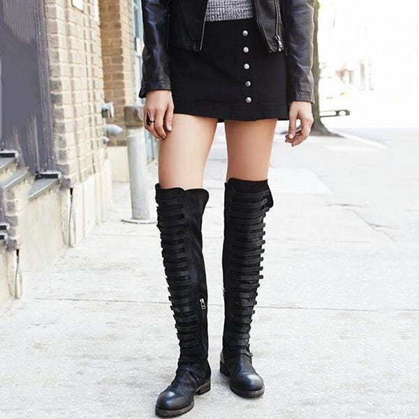 Women Round Toe Nubuck Side Zipper Patchwork Knee Boots