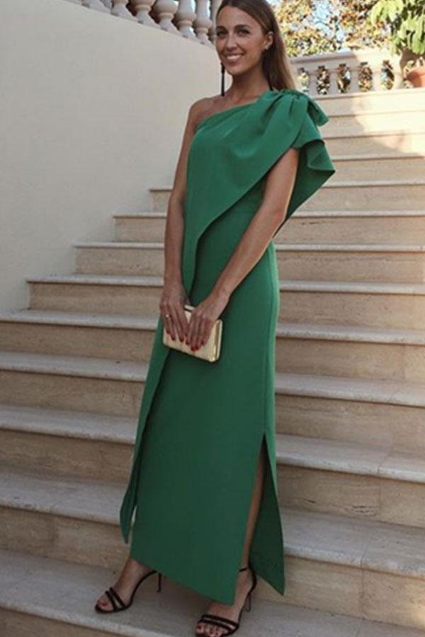Sexy One Shoulder Green Bow Slit Maxi Dress