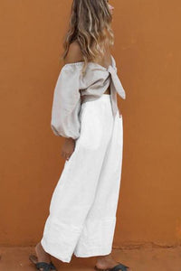Puff Sleeve Chest Strap Wide Leg Pants Set