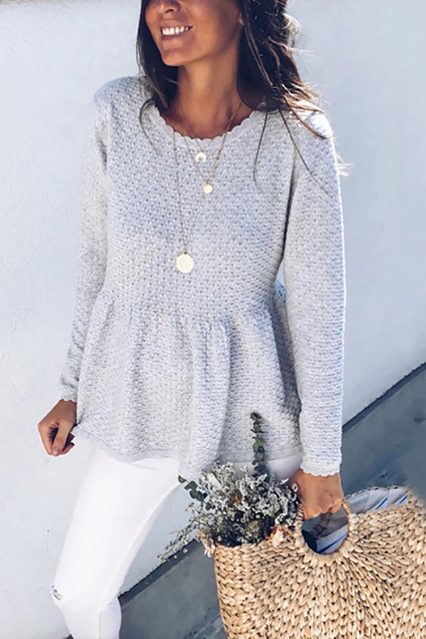 Fashion Pure Color Round Collar Knitted Sweater