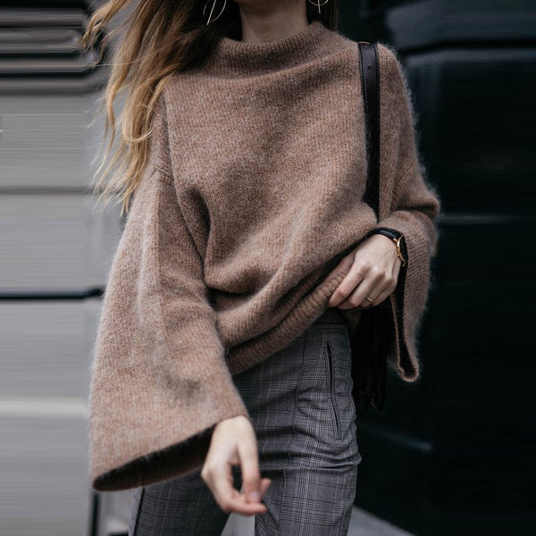 Casual Half High Collar Flared Sleeve Knit Sweater