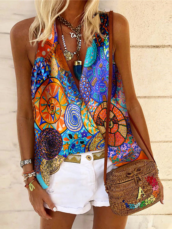 Women's Fashion V-Neck Printed Colour Vest