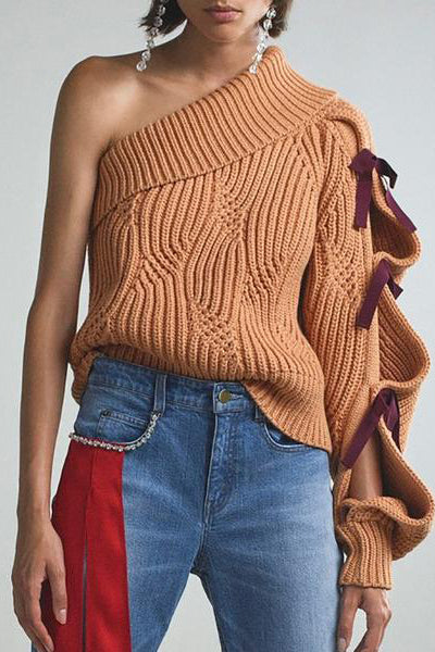 Casual Pure Color Knit Sweater