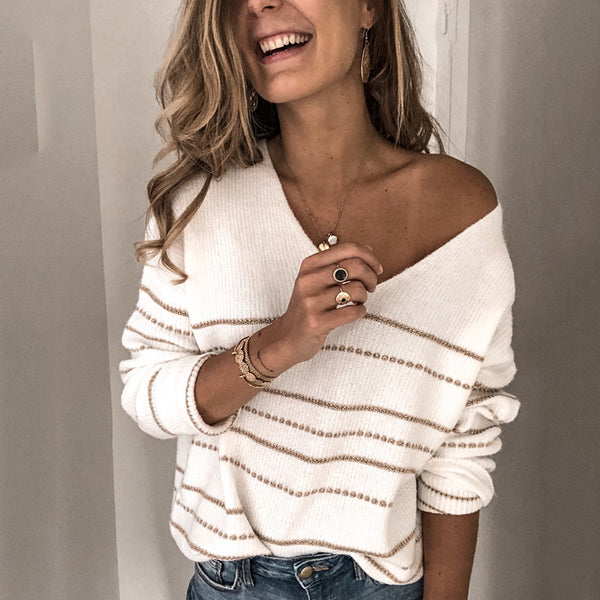 Casual V-neck Loose Striped Knit Sweater