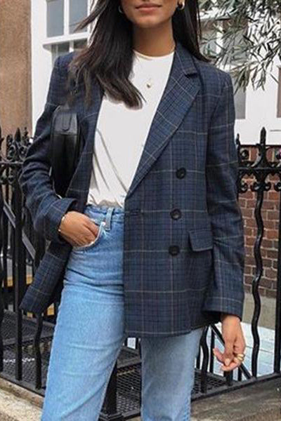 Casual Plaid Double Breasted With Lid Pocket Ladies Blazer