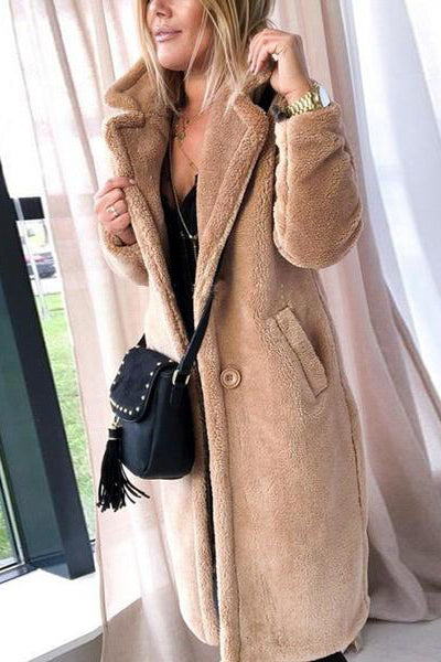 Casual Solid Color Warm Wool Coat
